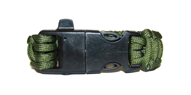 Paracord Bracelet with Whistle & Flint (Olive Drab) - NEW