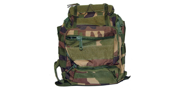 Versatile, 6 Compartment, Backpack/Shoulder Bag (Woodland Camo) - NEW