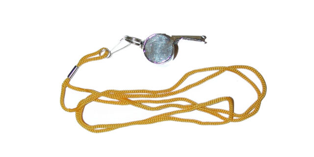 """""""Referee""""-style Whistle on yellow cord - NEW"""