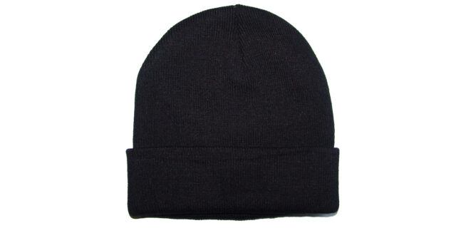 Black Knitted Beanie - NEW