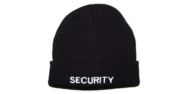 """SECURITY"" Black Knitted Beanie - NEW"
