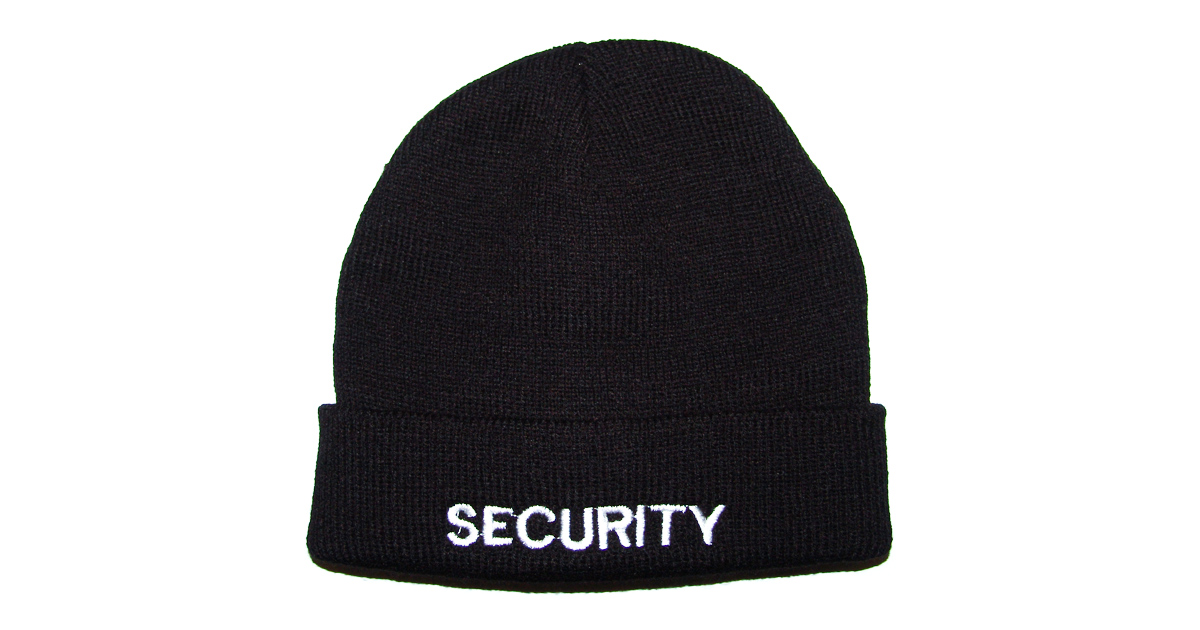 """""""SECURITY"""" Black Knitted Beanie - NEW"""