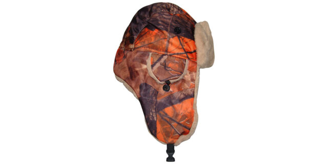 "Warm Lined ""Russian"" Hat (Orange/Forest Camo) - NEW"
