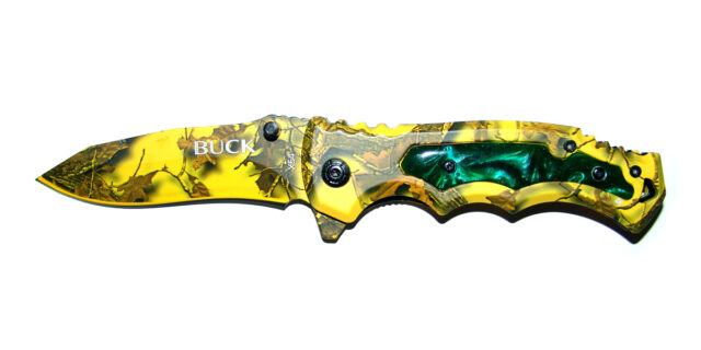 Folding Pocket Knife (Yellow Forest Camo) - NEW