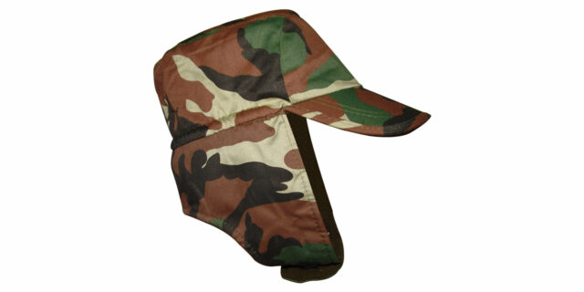 Warm Cap with Broad Chin-Strap (Woodland Camo) - NEW