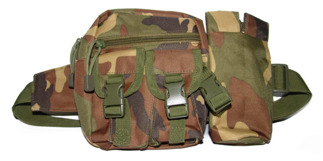 Belt with 4 Compartment Bag & Stubbie Holder (Woodland Camo) - NEW