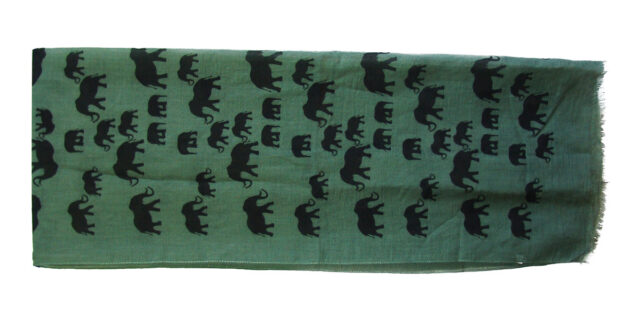 Scarf with Elephant Logo (Black on Olive Drab / Green Colour) - NEW