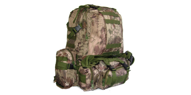 4 Piece Backpack +/- 35L Combo (Green Rattlesnake Camo) - NEW