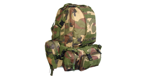 4 Piece Backpack +/- 35L Combo (Woodland Camo) - NEW