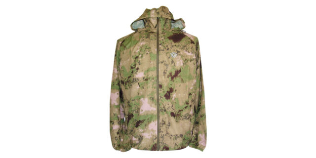 Water-Resistant Windbreaker with Hood (Green Savannah Camo) - NEW