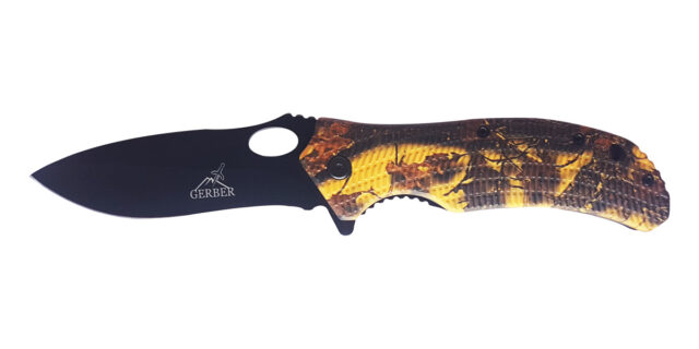 Orange/Yellow Leaf Camo Gerber Type Knife - NEW