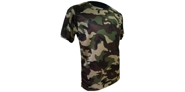 Woodland Camo Polyester T- Shirt - NEW