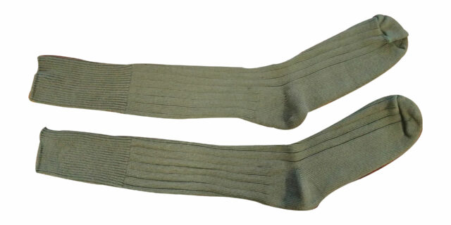 Army-type Long Socks with Sole Padding (Olive Green) - NEW